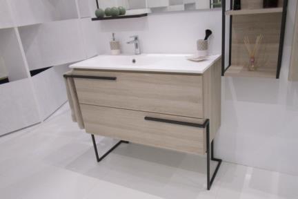 ארונות אמבטיה לאחסון  6176-2. ארון 2 מגירות עץ חום בהיר.  גודל: 45*100  גובה: 55