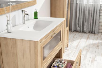 כיור אמבטיה אקרילי B6176-1. כיור לבן אבן מלאכותית.  מתאים לארון 6176-2  גודל: 100*45