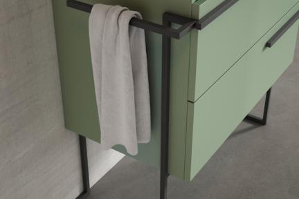 אביזרים משלימים לאמבטיה SP76. מסגרת ברזל לקישוט בלבד.  עם מתלה למגבת