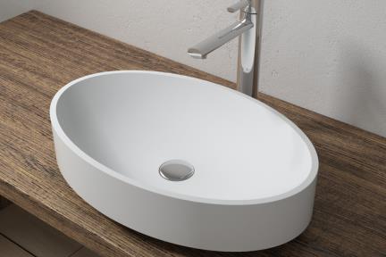 כיור מונח לחדר אמבטיה L561MT. כיור אובלי מונח.  אבן מלאכותית לבן מט  מידה 56*36