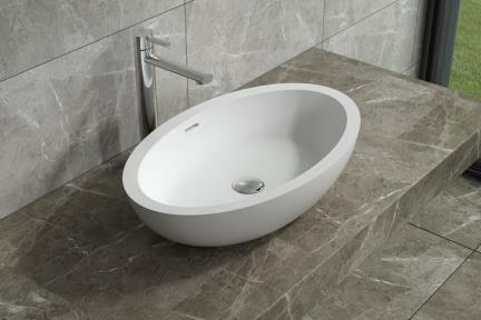 דגם L626MT. כיור אובלי עומד מאבן מלאכותית לבן מט.  גודל: 38*62  גובה: 12