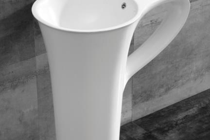 דגם L480-11. כיור דמוי ספל אבן מלאכותית לבן מט.  גודל: 77*48  גובה: 85