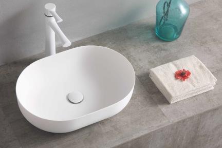 כיור מונח לחדר אמבטיה L536-11. כיור אבן מלאכותית מונח אובלי לבן מט.  גודל: 50*36  גובה: 14    חסר זמנית  ========