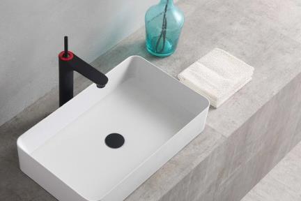כיור מונח לחדר אמבטיה L627-11. כיור אבן מלאכותית מונח - לבן מט.  גודל: 60*36  גובה: 14