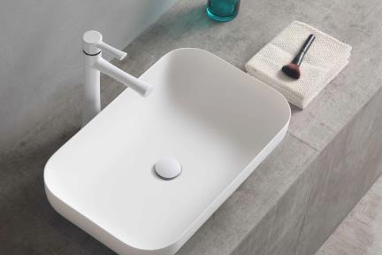 כיור מונח לחדר אמבטיה L632-11. כיור אבן מלאכותית מונח מלבני לבן מט.  גודל: 60*37  גובה: 14