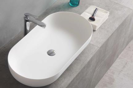כיור מונח לחדר אמבטיה L826-11. כיור אבן מלאכותית אובלי לבן מט.  גודל: 80*40  גובה: 15
