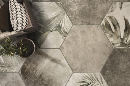 אריחי ריצוף וינטג' סדרת Hexagon 1003772. משושה אפור מעורב.  אריחים חלקים ועלים.  גודל: 32*36.8