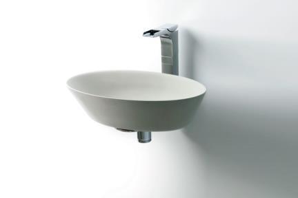 כיור מונח לחדר אמבטיה L460-5. כיור מונח מאבן מלאכותית.  פנים לבן חוץ אפור.  גודל 30*45  גובה: 12