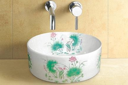 כיור מונח לחדר אמבטיה L406-2. כיור מונח עגול- פנים לבן.  חוץ: טפט כסף.  גודל: 41*41  גובה: 15