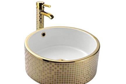 """כיור מונח לחדר אמבטיה L421-3. כיור מונח עגול פנים לבן, חוץ פסיפס זהב  קוטר: 42*42  גובה: 16  מחיר 1638 ש""""ח"""