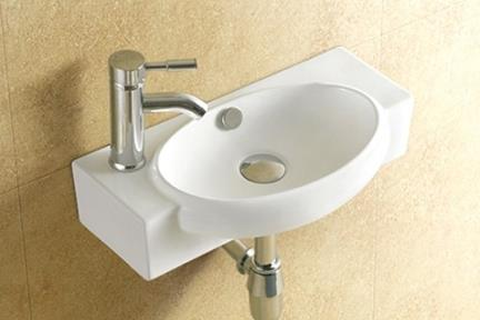 כיור קיר תלוי לאמבטיה L512. כיור קיר מעוגל.  גודל: 28*51  גובה: 13