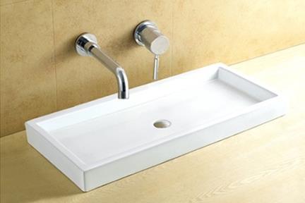 כיור מונח לחדר אמבטיה L1010. כיור מונח לבן מלבני.  גודל: 45*101  גובה: 9.5