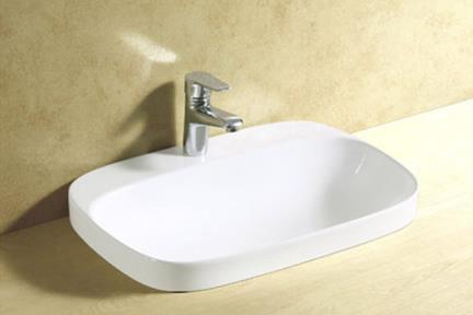 כיור אמבטיה חצי שולחני L641. כיור מונח חצי בפנים.  גודל: 42.5*60  גובה: 16