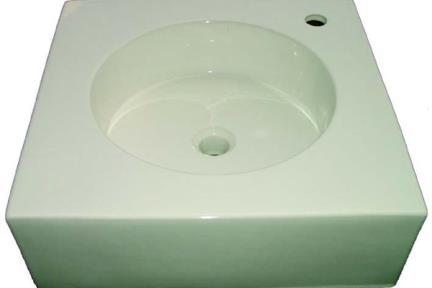 כיור מונח לחדר אמבטיה L5530. מידה: 50X50  כיור מעל משטח  עם או בלי חור לברז  צבע: לבן