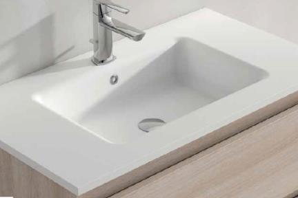 כיור אמבטיה אקרילי B6376. כיור לבן אבן מלאכותית.  גודל: 45*100