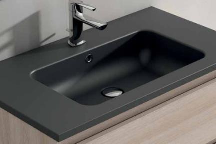 כיור אמבטיה אקרילי B6376-9. כיור שחור אבן מלאכותית.  גודל: 45*120