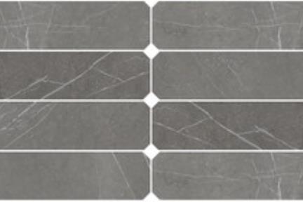 אריחי ריצוף  גרניט פורצלן דמוי אבן 1012373. פורצלן מתומן מאורח חץ שיש פחם  גודל: 10*60  נגד החלקה R10