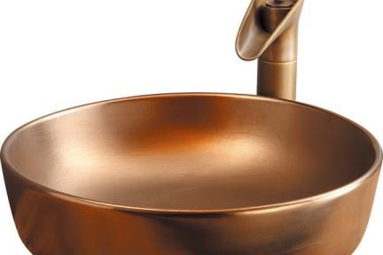 כיור מונח לחדר אמבטיה L4202. כיור קרמי עגול מונח בצבע ברונזה.  קוטר 45