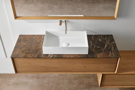 כיור מונח לחדר אמבטיה B537. כיור מונח מרובע מאבן מלאכותית בצבע לבן מט.  גודל: 58*37  גובה: 10.5