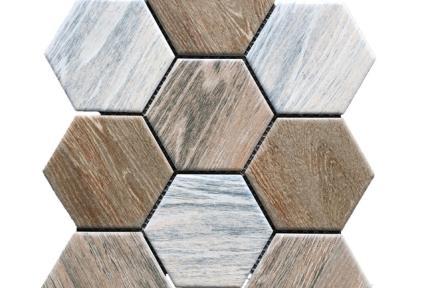 אריחי פסיפס לחיפוי קיר מקרמיקה 1002576. פסיפס משושה 10 סמ דמוי עץ על רשת.  גודל: 25.6*29.5