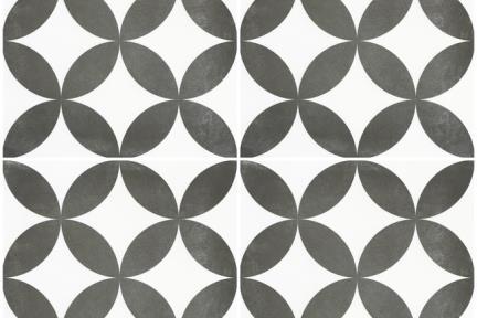 אריחי ריצוף וינטג' סדרת Cordova 1002512. פורצלן גאומטרי אליפסות שחור.  נגד החלקה R10  גודל: 20*20