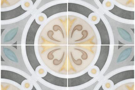 אריחי ריצוף וינטג' סדרת Cordova 1002513. פורצלן גאומטרי עיגולים ענתיקה צבעוני.  נגד החלקה R10  גודל: 20*20