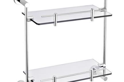 דגם 28002. מדף זכוכית כפול עם מסגרת כרום