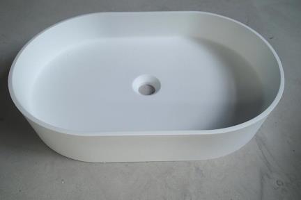 כיור מונח לחדר אמבטיה L583-11. כיור מונח אובלי אבן מלאכותית לבן מט  גודל: 38*58