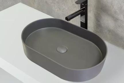 כיור מונח לחדר אמבטיה: L583-15. כיור מונח אובלי אבן מלכותית פחם מט  גודל: 38*58