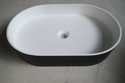כיור מונח לחדר אמבטיה: L583-119. כיור מונח אובלי אבן מלכותית -מט לבן מבפנים שחור מבחוץ  גודל 38*58