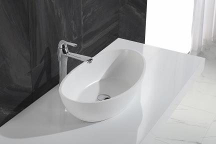 כיור מונח לחדר אמבטיה L643-11. כיור מונח אובלי אבן מלכותית לבן מט  גודל 33.5*62