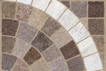 אריחים לריצוף חוץ פורצלן דמוי אבן 971151. ריבועים חום+קשת לבנה  גודל: 60.5*60.5  נגד החלקה R11