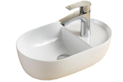 כיור מונח לחדר אמבטיה L409. כיור מונח אובלי עם חור לברז מהצד  גודל: 26.5*43