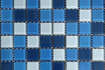אריחי פסיפס לחיפוי קיר מזכוכית 1004916. פסיפס זכוכית כחולים (קריסטלים)  גודל: 30*30