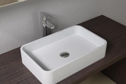 כיור מונח לחדר אמבטיה L532-11. כיור מרובע מונח מאבן מלאכותית לבן מט  גודל: 32*50  גובה: 10