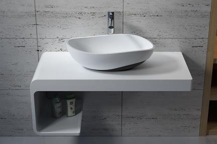 כיור מונח לחדר אמבטיה L565-119. כיור מונח מאבן מלאכותית לבן מט, תחתית שחורה מט  גודל: 37.2*56.5  גובה: 17.5