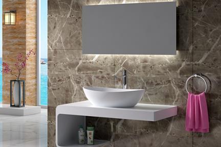 כיור מונח לחדר אמבטיה L618-11. כיור אובלי מונח מאבן מלאכותית לבן מט  גודל: 34*61.7  גובה: 16
