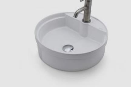 כיור מונח לחדר אמבטיה B412-1. כיור לבן מונח או חצי בפנים  קוטר 40