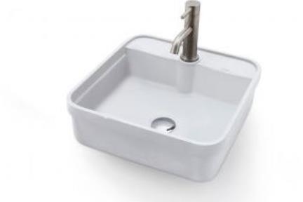 כיור מונח לחדר אמבטיה B413-1. כיור לבן מרובע  גודל: 41*41