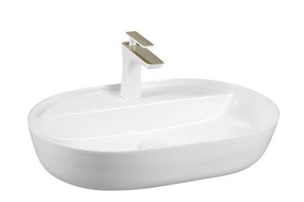כיור מונח לחדר אמבטיה L633-10. כיור חרס מונח לבן עם חור לברז  גודל: 40*60  גובה: 13.5