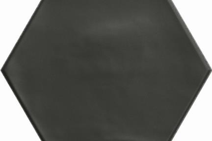 אריחי ריצוף וינטג' סדרת Hexagon 15199. פורצלן משושה שחור מט.  גודל: 15*17.3  נגד החלקה R10