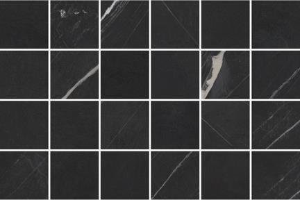 אריחי פסיפס לחיפוי קיר מקרמיקה M349. פסיפס פורצלן מיקס דמוי שיש + חלק שחור  גודל: 30*30