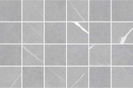 אריחי פסיפס לחיפוי קיר מקרמיקה M345. פסיפס פורצלן מיקס דמוי שיש + חלק אפור כהה  גודל: 30*30