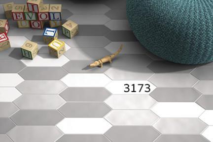 אריחי ריצוף וינטג' סדרת Hexagon 1003173. משושה מוארך לבן  גודל: 30*10