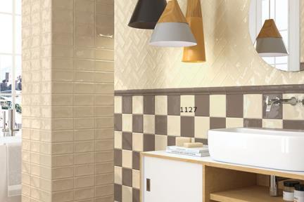 אריחי וינטג' לחיפוי קיר בסגנון עתיק 1001127. בז' שמנת ענתיקה מבריק  גודל: 15*15
