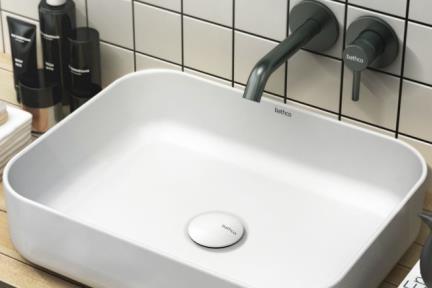 כיור מונח לחדר אמבטיה B416-11. כיור מלבני קרמי לבן מט  גודל: 39*50  גובה: 14