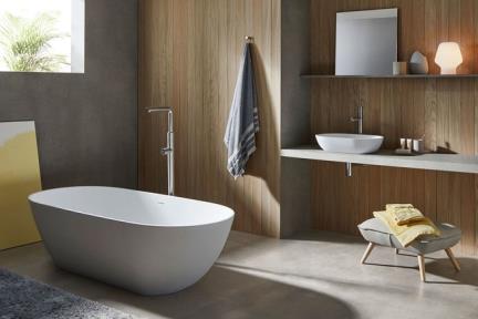אמבטיה פרי סטנדינג BT19. אמבטיה אובלית לבן מט- אבן מלאכותית.  גודל: 80*170  גובה: 50