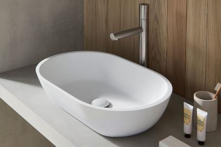 כיור מונח לחדר אמבטיה L519-11. כיור מאבן מלאכותית לבן מט.  גודל: 35*55  גובה: 12.5