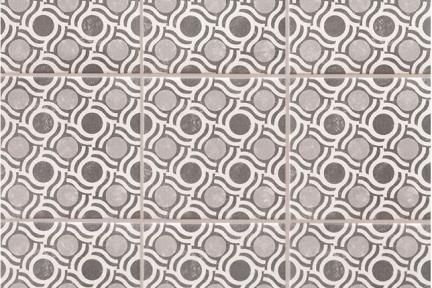 אריחי ריצוף וינטג' סדרת Toledo 18181. ענתיק עיגולים אפור  גודל: 18*18