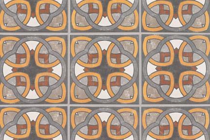 אריחי ריצוף וינטג' סדרת Toledo 18182. ענתיק אוריינטלי אפור כתום בורדו  גודל: 18*18